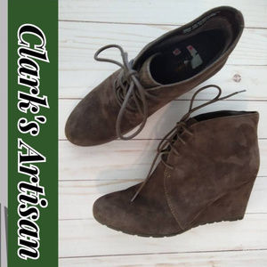 Clark's Artisan Brown Suede Wedge Shoes